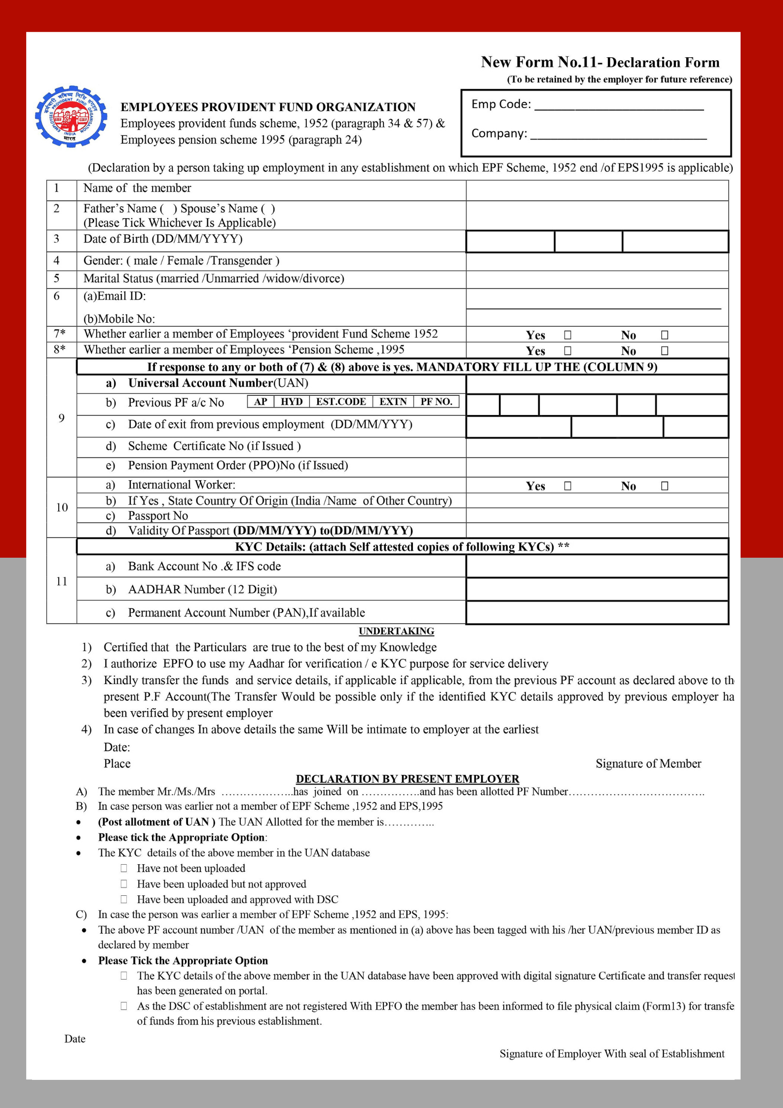 EPF Form 11 (Self Declaration Form)