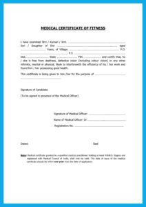 Medical Fitness Certificate PDF
